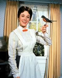 Mary Poppins with bird on her finger