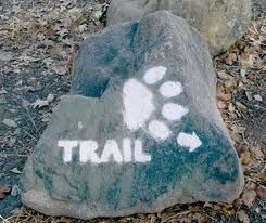 trail marker on rock