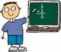 cartoon of boy doing a math problem