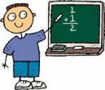 cartoon of boy doing a math problem