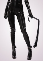 leather clad torso with whip