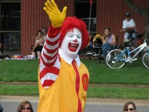 ronald mcdonald waving at camera