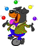 cartoon dog wearing clothes juggling balls while riding a unicycle