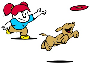 cartoon girl tossing frisbee for a dog