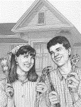 drawing of smiling man and woman holding tools in front of house