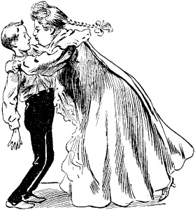cartoon of girl in long dress trying to kiss a boy in black pants with suspenders