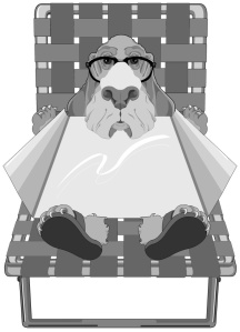 cartoon of a dog wearing glasses lying on a lawn chair sunning himself