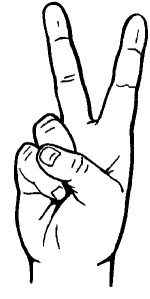 drawing of hand giving peace sign
