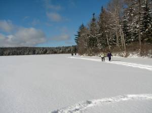 snowshoeing on a frozen pond
