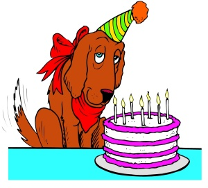 Cartoon of dog with party hat and birthday cake