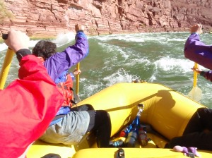 view of front of raft going down the Colorado River