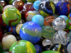 marbles of different sizes and colors