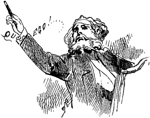 b & w sketch of a music conductor