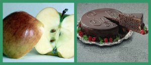 pictures of an apple and chocolate cake