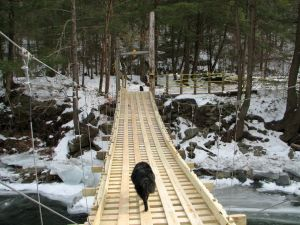 wooden swing bridge in vermont with a dog on it and a dog waiting a other end