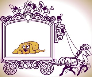 circus wagon with dog cartoon in it