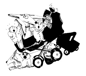black and white drawing of baby carriage and dogs